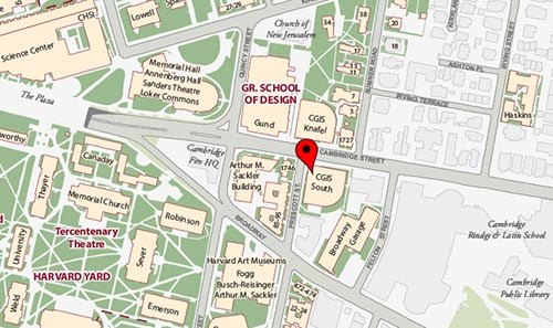 Map of CGIS South building, Harvard University